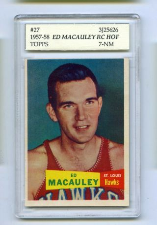 1957 - 58 Topps Hof Ed Macauley Rc 27 Slabbed Basketball Card Hawks Psa 7 Nm