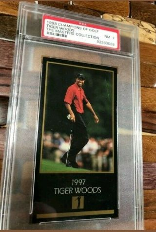 1997 - 98 Tiger Woods Grand Slam Ventures Rookie Psa 7