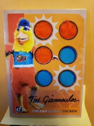 2019 Donruss San Diego Chicken 6 Piece Game Used/ Ted Giannoulos Auto 12/85