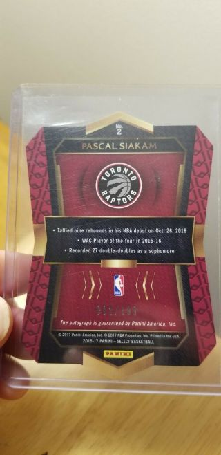 Pascal Siakam 2016 - 17 Select Die - Cut Rookie Autograph Auto /199 And Optic Rookie