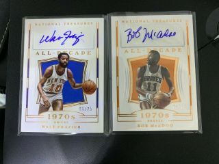 2018 - 19 Panini National Treasure All - Decade Auto Lot2 Frazier/mcadoo /25 Ly
