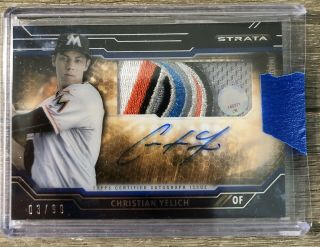 2015 Topps Strata Christian Yelich 3/99 Patch Autograph