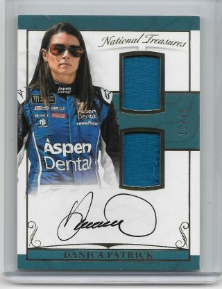 2017 National Treasures Rare 12/15 Dual Materials Autograph Danica Patrick