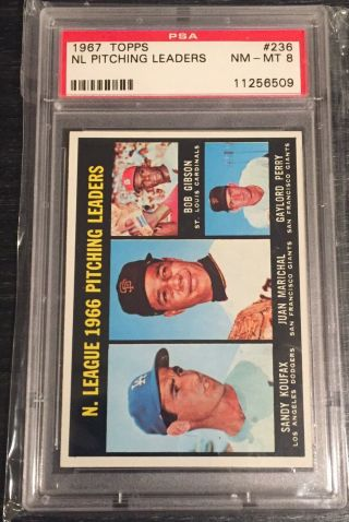 1967 Topps Nl Pitching Leaders Gibson/ Sandy Koufax/ Marichal/ Perry 236 Psa 8