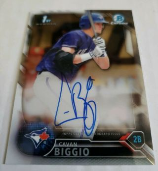 Cavan Biggio 2016 1st Bowman Draft Chrome On - Card Auto Bluejay