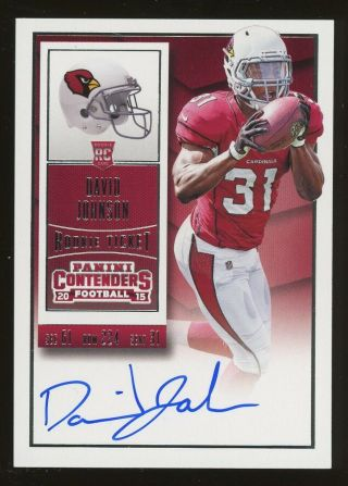 2015 Panini Contenders Rookie Ticket David Johnson Rc Auto Arizona Cardinals