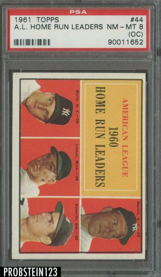 1961 Topps 44 Al Home Run Leaders W/ Mickey Mantle Hof Psa 8 Nm - Mt (oc)