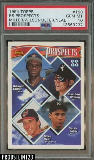 1994 Topps 158 Ss Prospects Derek Jeter York Yankees Rc Rookie Psa 10