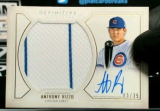2019 Topps Definitive Patch Auto Anthony Rizzo 3/35 Chicago Cubs