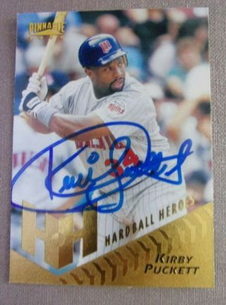 1996 Kirby Puckett Autograph Pinnacle Card - Guaranteed Authentic - Twins