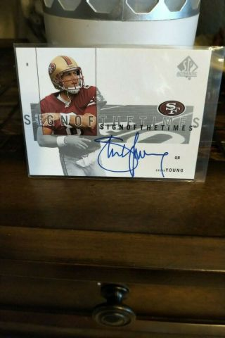 Steve Young 2001 Ud Sp Authentic Sign Of The Times Sott Auto