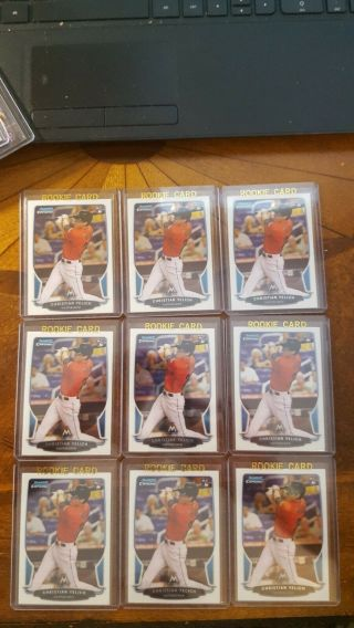 (9) Christian Yelich 2013 Bowman Chrome Rookie Cards 40 Milwaukee Brewers Look