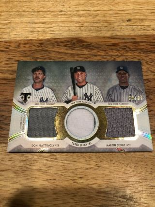 2018 Topps Triple Threads Mattingly/jeter/judge Triple Relic Numbered 08/27