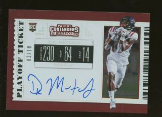 2019 Contenders Playoff Ticket D.  J.  Metcalf Rc Rookie Auto 2/18