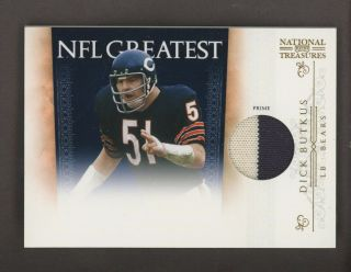 2011 National Treasures Dick Butkus Prime 2 Color Jersey Patch /49 Bears