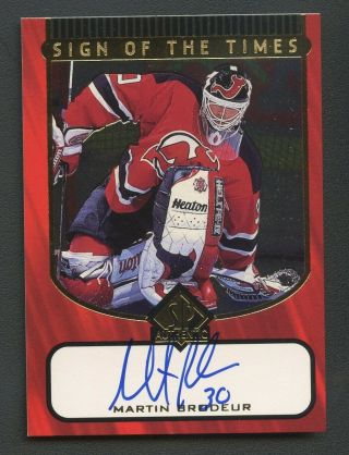 1998 Sp Authentic Sign Of The Times Martin Brodeur Devils Hof Auto