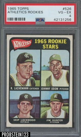 1965 Topps 526 Athletics Rookies W/ Jim Catfish Hunter Rc Rookie Hof Psa 4