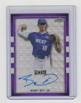2018 Leaf Metal Perfect Game All - American Bobby Witt Jr Purple Flag Etch Auto /8