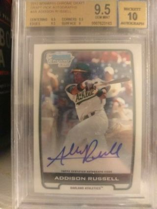 2012 Bowman Chrome Draft Addison Russell Rookie Auto Bgs 9.  5/10
