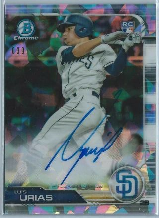 2019 Bowman Chrome Luis Urias Rookie Atomic Refractor Auto Rc 039/100