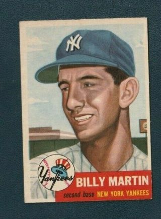 1953 Topps Billy Martin 86 Nm W/tiny Creased Tip Yankees