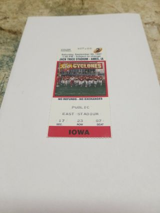 Iowa Hawkeyes At Iowa State Football Ticket Stub 1997 Ames Jack Trice