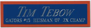 Tim Tebow Uf Heisman Nameplate Autographed Signed Helmet - Jersey - Football - Photo