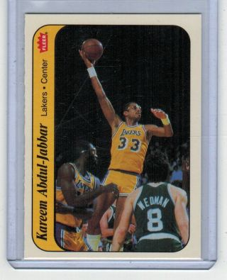 1986 Fleer Sticker Kareem Abdul - Jabbar 1 Basketball Card