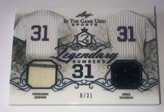 2019 Leaf Itg Game Fergie Jenkins Greg Maddux Game Worn Jersey D 8/31
