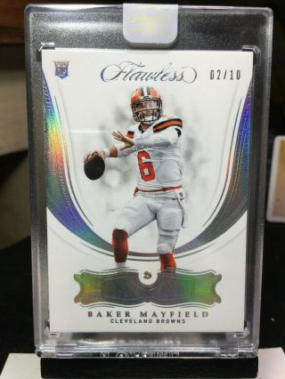 2018 Flawless Baker Mayfield Silver Rookie Base Gems Diamond 2/10 Browns Rc