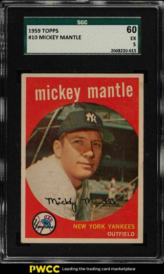 1959 Topps Mickey Mantle 10 Sgc 5 Ex (pwcc)