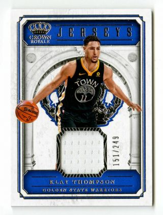 2017 - 18 Klay Thompson Crown Royale /249 Game Gu Jersey Patch Warriors Jsy