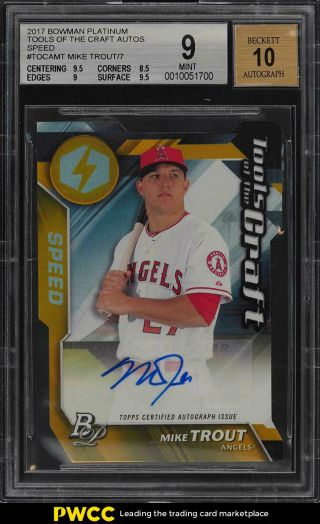 2017 Bowman Platinum Tools Of The Craft Die - Cut Mike Trout Auto /7 Bgs 9 (pwcc)