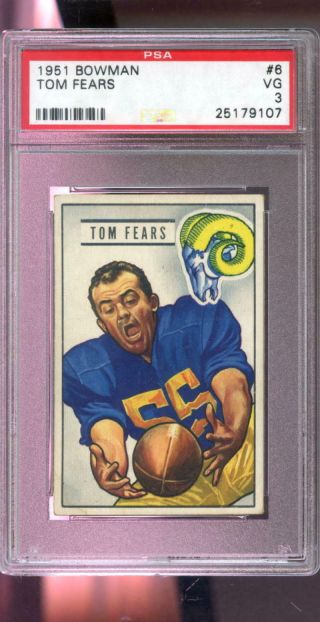 1951 Bowman 6 Tom Fears Los Angeles Rams Nfl Psa 3 Graded Football Card