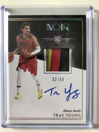 2018 - 19 Panini Noir Trae Young Rookie Patch 3 Color On Card Auto /99 Rc.