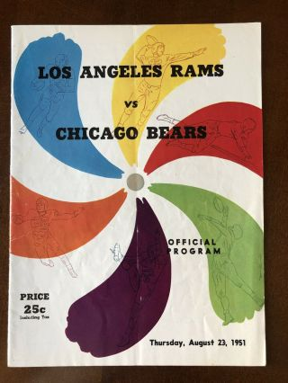 1951 Los Angeles Rams Preseason Football Program Vs Chicago Bears