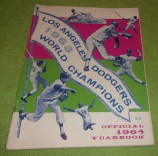 Los Angeles Dodgers World Champions Official Yearbook 1964 Collectible Sports