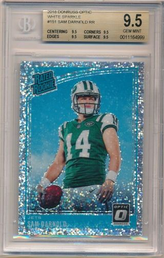 Sam Darnold 2018 Donruss Optic Rc Rookie White Sparkle Jets Sp Bgs 9.  5 Gem