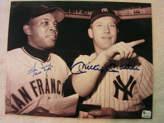 Mickey Mantle Willie Mays Signed Autographed B & W 8 X 10 Photo 2 X Certified