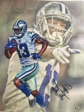 Michael Gallup Autographed Dallas Cowboys 20x24 Rolled Canvas Beckett