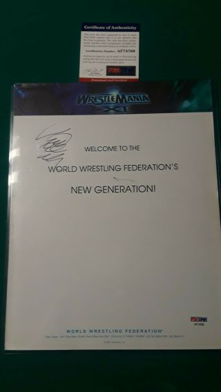 Signed Vince Mcmahon Wrestlemania 11 Promo Sheet Psa/dna Loa