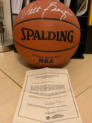 Walt Frazier Autographed Basketball (with)