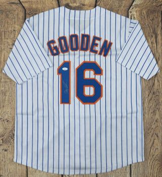 "Dwight "" Doc "" Gooden Signed/autographed Custom Pinstripe Jersey Jsa Authenticated"