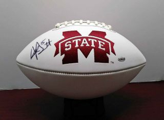Dak Prescott Signed Official Size Mississippi State Bulldogs Logo Football -