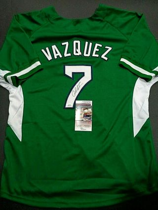 Christian Vazquez Boston Red Sox Autographed Custom Green Style Jersey Jsa -