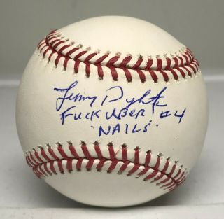 "Lenny Dykstra "" Nails "" Signed Inscribed Baseball Autographed Jsa Mets"