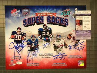 Giants Sb Superbacks 5x Signed 11x14 Photo Ottis Anderson Joe Morris Jsa