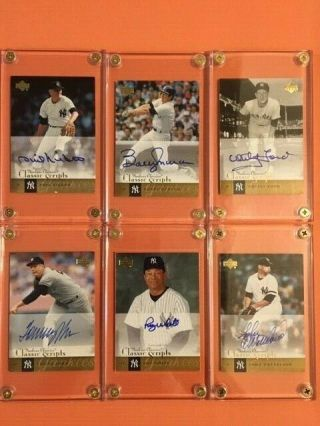 (6) Yankees Auto Cards,  Ford /murcer/john/ Niekro/white//wetteland,  Nr/mt,  Look,
