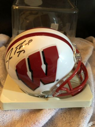 Barry Alvarez Joe Thomas Autographed Mini Football Helmet Signed Badgers Auto