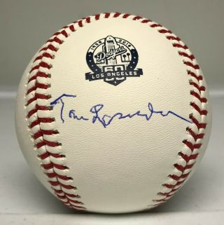 Tommy Lasorda Single Signed Dodgers Logo Baseball Auto Jsa Browns Cardinals